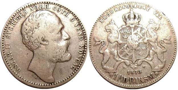 Ingemars Myntsida Silvermynt 995 1873 Pictures Of Swedish Coins Sweden Coin Picture 995 1873
